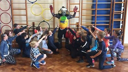 Sutton Beast visits children at school ahead of annual 10k and fun run event