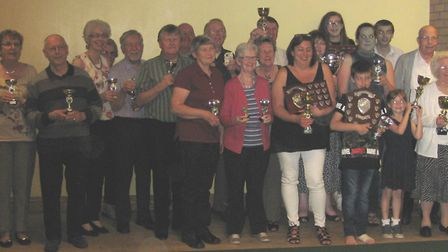 The winners, runners-up and qualifiers of the The East Cambs Carpet Bowls Association 2016/17 season