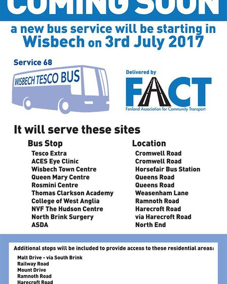 The Fenland Association for Community Transport (FACT) has launched a new service in Wisbech, due to