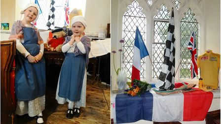 Lucille and Zoe Beurt in traditional Normandy costume, and one of the French-themed window displays.