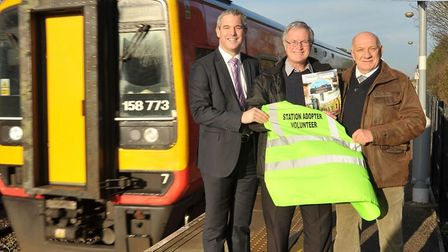 Flashback: MP Steve Barclay at Manea railway station when it celebrated increase passenger numbers n