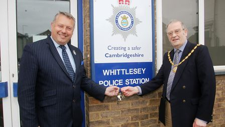 Mayor of Whittlesey, Alex Miscandlon with Police and Crime Commissioner, Councillor Jason Ablewhite