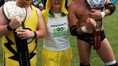 Cathy Gibb-de Swarte with wrestlers at Littleport's Fun Day at the Leisure Centre.
