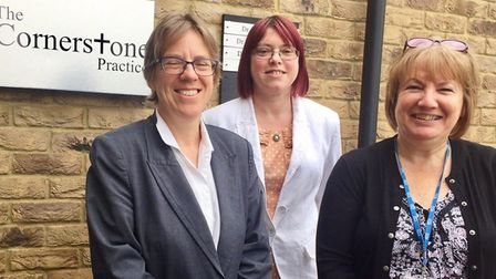 Cornerstone practice March, from left Dr Wendy Harrison, Sarah Fox and Ellie Buckton