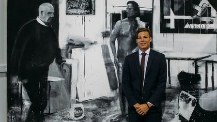 Art student Matthew Gilham with his canvas. Picture: Felsted School