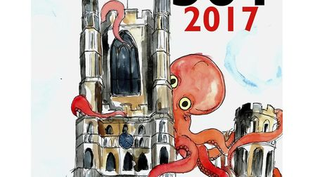 Ely 501 cover features octopus scaling Ely Cathedral