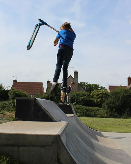 Chatteris skatepark opens - a youngster enjoys the new facility