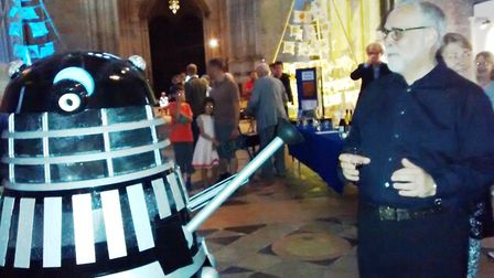 Ely Cathedral science festival. Paul Trepte wiht a dalek PHOTO: Rosemary Westwell