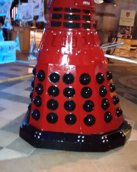 Ely Cathedral science festival. A red dalek PHOTO: Rosemary Westwell