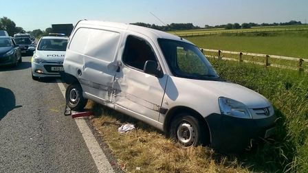 Two people were taken to hospital this morning (June 19) after a crash on the A142 near Soham.