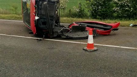 Police share image of overturned car involved in East Cambs crash to warn people about driving safel