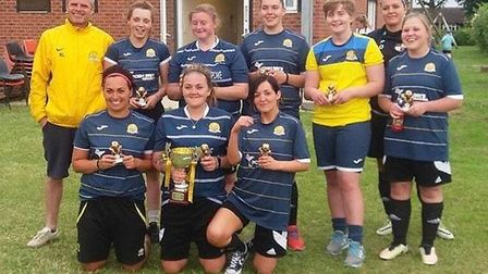 Hungate Rovers six-a-side ladies winners, March Town Ladies Blue. PHOTO: March Town Ladies