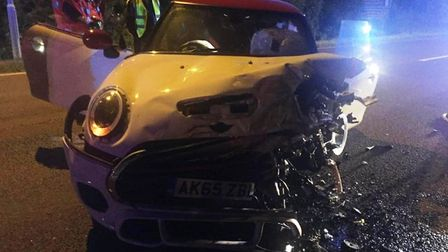March Mayor Councillor Kim French was involved in a car crash on Saturday night on the A141 - her Mi