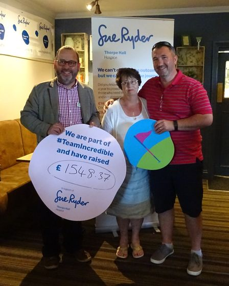 A representative from Sue Ryder, Isobel Tunley and Michael Tunley after the Peter Tunley Memorial Da