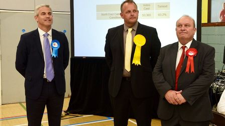 Candidates await the official announcement of the result for the North East Cambs constituency. From