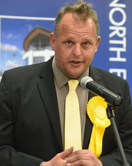 Liberal Democrat Darren Fower makes his thank-you speech following the announcement of the result fo