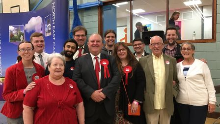 Labour's Ken Rustidge and his team was in bouyant mood during the count at the Hudson Centre in Wisb