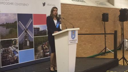 Lucy Frazer speaks after being re-elected as MP for South East Cambridgeshire.