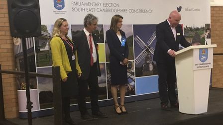 SE Cambridgeshire candidates Lucy Nethsingha (Liberal Democrats), Huw Jones (Labour) and Lucy Frazer