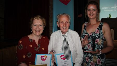 Neighbour of the Year: From left Bridget Hickish representing sponsor Elyi with Bert Russell and Jo