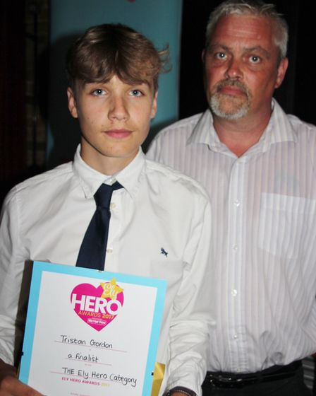 Ely Hero nominee Tristan Gordon with his dad Spencer. Tristan saved his dad's life after he got knoc