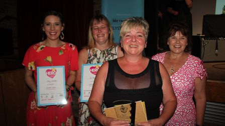 Smiliest Server: from left Roxy Wesbster, Jo Pearson, Shelley Davies-Bloss (winner) with Sarah Cliss