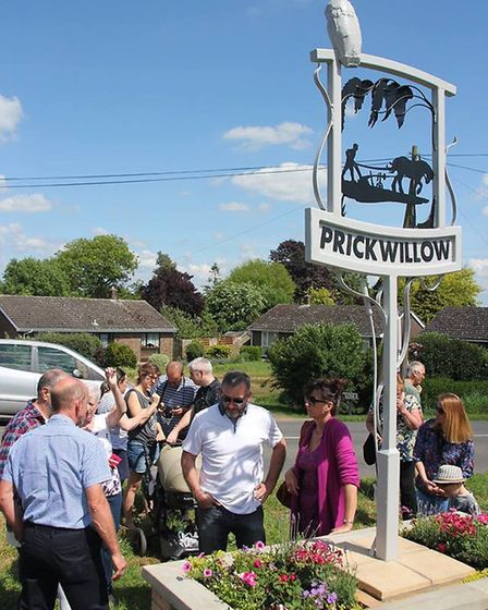 A new sign unveiled in Prickwillow.
