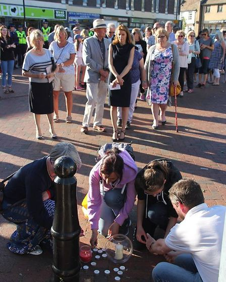 Vigil on Ely Market Place. Lucy Frzer MP mingles with the crowds.