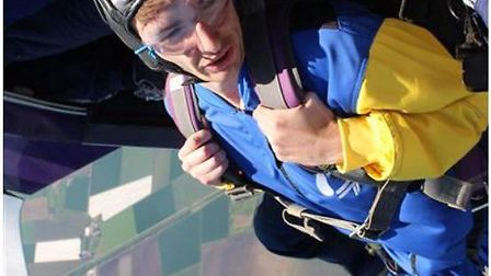 Reporter Ben Jolley freefalling at 120mph at North London Skydiving Centre. PHOTO: Alex Turner.