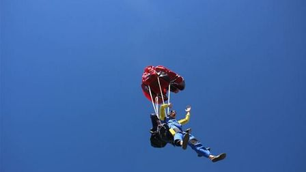 Reporter Ben Jolley about to land after his tandem skydive at North London Skydiving Centre. PHOTO: