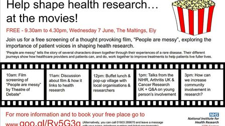 East Anglian NHS research organisations have joined together to hold a free public screening of the