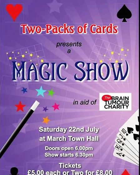 Ryan Large hosts a magic show in March Town Hall to raise money for the Brain Tumour Charity PHOTO: