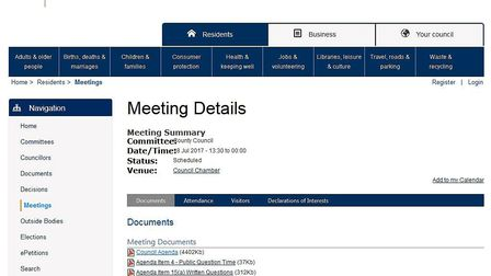 Here's the agenda for tomorrow's county council meeting which, if you weren't aware, contains a repo