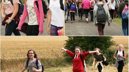 Witchford Village College students raise charity cash by walking 13 miles to Sutton and back.