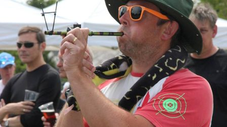Pea shooting champion Jim Collins . PHOTO Mike Rouse
