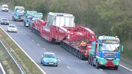 Transfomer on the move - one like this will be taken to Walpole sub station PHOTO: National Grid