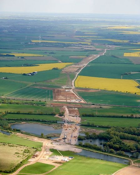 The A14 is taking shape. A view from the air PHOTO: Highways England