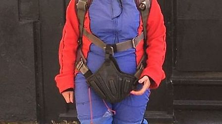 Linda Whitby before her charity parachute jump.