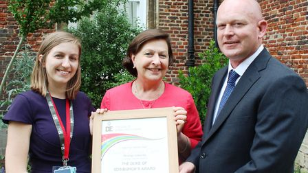 DofE licence presentation: Magda Charlton, DofE operations officer for the East of England; Sue Free