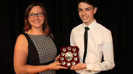 Soham Village College musician of the year. Stephanie Kenna with Felix Jewkes, winner of the Stephen