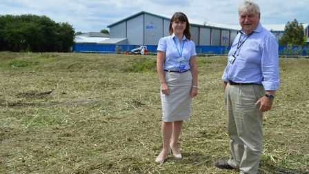Work starts on new car park for Ely station; Councillors Lisa Stubbs and Bill Hunt at the site in An