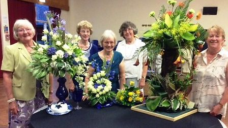 Flower competition winners Mary Sparks, president Joyce Svensson, Marie Twin, Angela Causton and Hel