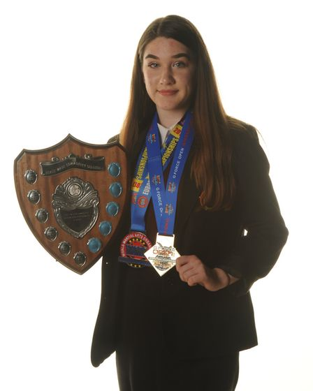Paige Harris with her outstanding performance in sport award.