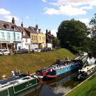 Boats gather on the River Nene in March town centre.