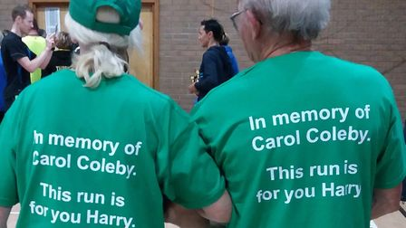 Cathy Gibb-de Swarte and Harry Coleby in their Branching Out t-shirts.