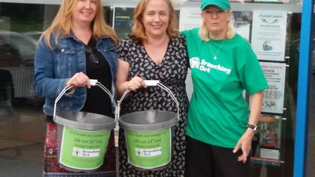 Branching Out general manager Susan Wiggans, Leisure Centre manager Dawn Holmes and charity runner C