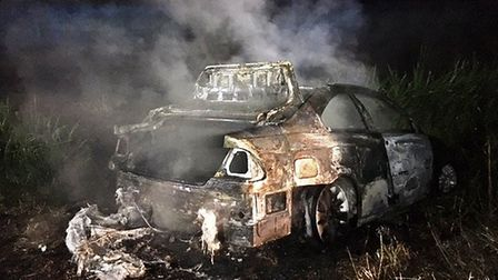 Arsonists set fire to a car at North Bank, Whittlesey overnight.