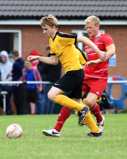 Action from Wisbech Town's 4-1 win over March Town. PHOTO: Ian Carter