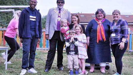 Mayor of Ely, Councillor Richard Hobbs, opens the fayre with headteachers Becky Ireland-Curtis (righ