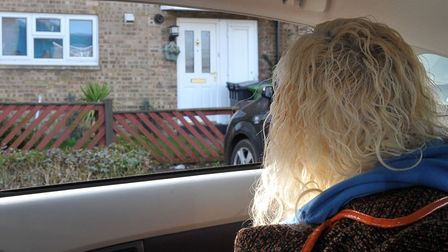 Ruth Neave case. Ruth looking at the house she lived in Welland estate,Peterborough.